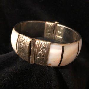 Vintage Mother of Pearl & Indian Silver bracelet
